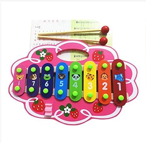 SunnyGod Instrumentos Musicales para bebés Mano de Dibujos Animados golpeando Golpe de xilófono de 8 Tonos