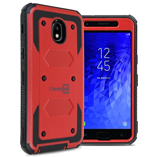 - Samsung Galaxy J3 2018 Case, Express Prime 3 / J3 Star / J3 Prime 2 / Amp Prime 3 / Eclipse 2 / J3 Aura/Galaxy Achieve Case, CoverON [Tank Series] Full Body Phone Cover with Tough Faceplate - Red