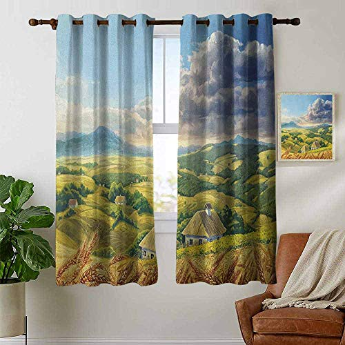 (Room Darkening Wide Curtains Country,Summer Rural Landscape with Wheat and Small Country Houses in Valley Art, Green White Blue,Light Blocking Drapes with Liner)