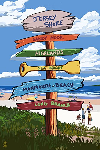 - Jersey Shore - Signpost Destinations (16x24 SIGNED Print Master Giclee Print w/Certificate of Authenticity - Wall Decor Travel Poster)