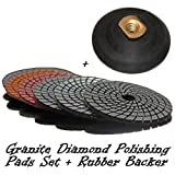 4'' STADEA Granite Polishing Pads + Buff with Rubber Backer Set for Wet Sanding Polishing Granite / Granite Tile / Granite countertop polishing