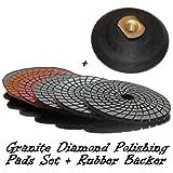 4'' STADEA Granite Polishing Pads + Buff with Rubber Backer Set for Wet Sanding Polishing Granite / Granite Tile / Granite countertop polishing