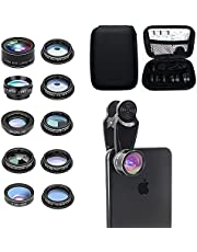 10 in 1 Cell phone external lens kit for iPhone Huawei oppo Vivo Xiaomi Samsung, Universal zoom 2x Telephoto Lens, 198° Fish eye+0.63 Wide-Angle Lens+15X Macro+Circular polarized lens(CPL)+Kaleidoscope+Star burst Lens+Flow+Radial+, With zippered bag.