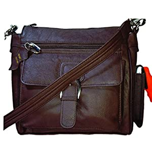 Genuine Brown Leather Pistol Concealment Purse with Buckle