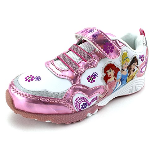 Disney Princess Girls Lighted Sneakers (11 M US Little Kid, Pink Cinderella Belle & Ariel) (Cinderella Shoes Kids)