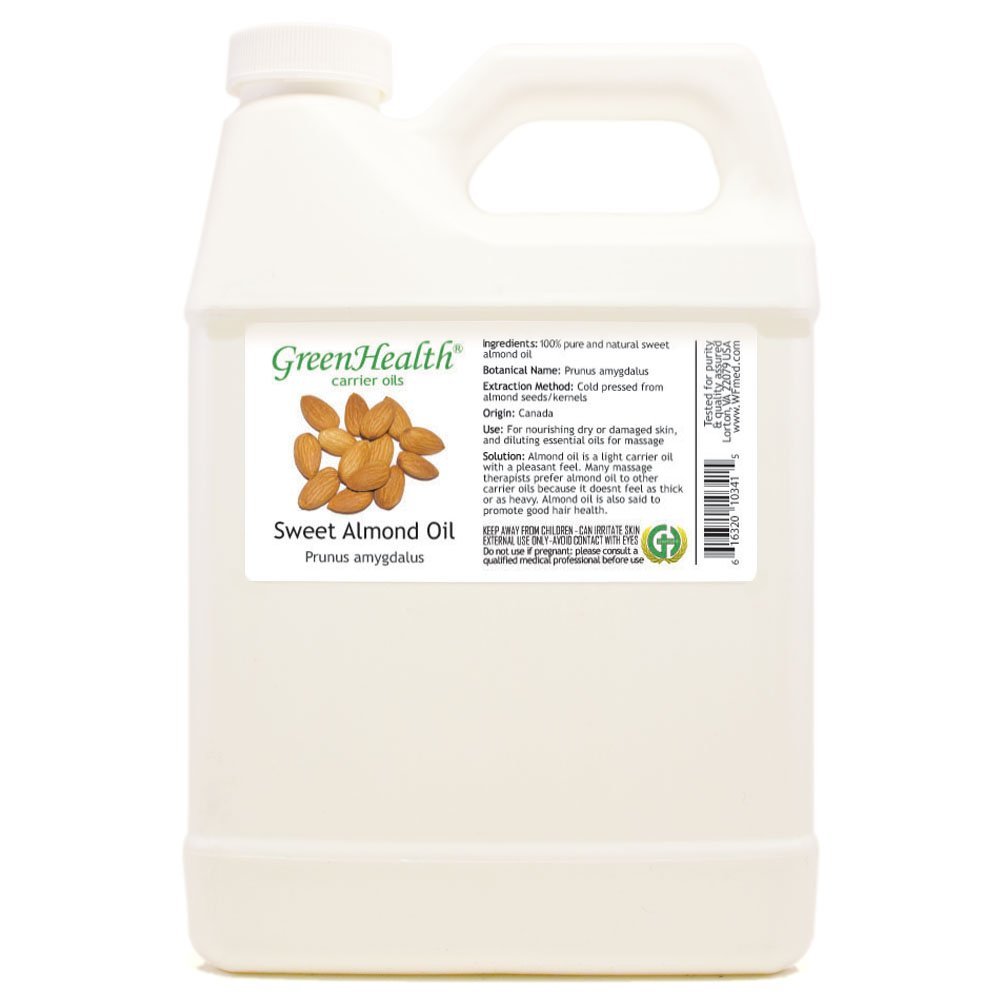 GreenHealth Sweet Almond - 32 fl oz (946 ml) Plastic Jug w/Cap - 100% Pure Carrier Oil