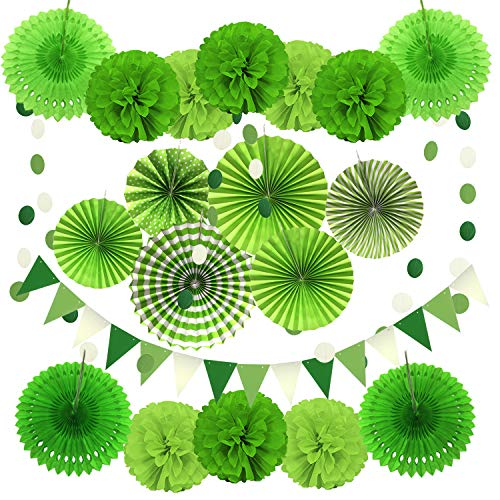 (Zerodeco Party Decoration, 21 Pcs Green Hanging Paper Fans, Pom Poms Flowers, Garlands String Polka Dot and Triangle Bunting Flags for Golf Party Dinosaur Birthday Parties Arbor)