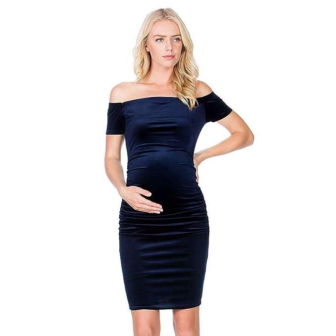 QinMM Vestido Premamá de Tirantes Mujeres Maternidad Verano Manga Corta de Fiesta Boda Embarazada Vestir