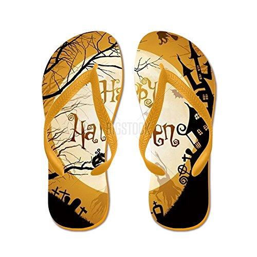 Cafepress Halloween Illustration Med Svart Silho - Flip Flops, Roliga Rem Sandaler, Strand Sandaler Apelsin