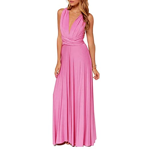 Women Pink Maxi Dress Sleeveless Backless V Neck Bandage Wrap Cocatail Wedding Long Dress
