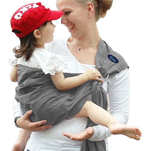 Cuby Ring Sling Baby Wrap Carrier for Infants and Newborns,Breastfeeding Privacy,Ergonomically-Designed Child Carriers,The Perfect Baby Shower Gift Neapolitan (Grey white) by Cuby