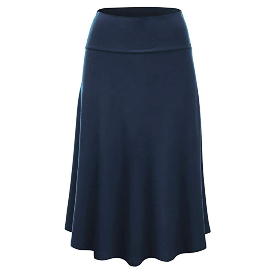 Jinjin Womens Skirt - High Waist Uniform Pleated Solid Midi Skirt with Flare Hem (Blue, XXXL)