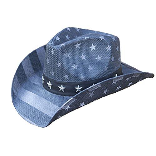 (American Flag Distressed Cowboy Hat (Blue, Grey))