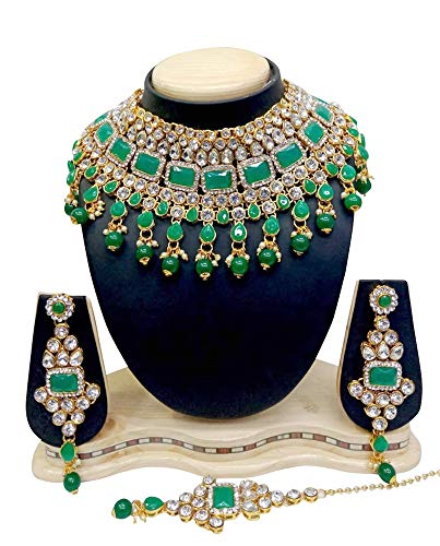 (CROWN JEWEL Indian Bridal Fashion Jewelry Wedding Gold Tone Necklace Earring Set (Green))