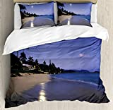 Hawaiian Decorations Duvet Cover Set by Ambesonne, Houses Clear Sky Full Moon and Moonlight Reflection at Daybreak on a Hawaii Beach, 3 Piece Bedding Set with Pillow Shams, Queen / Full, Navy Sand