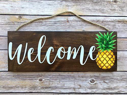 (YYcharm Welcome Sign for Front Door, Pineapple Door Hanger, Summer Door Hanger, Welcome Summer Sign, Wood Welcome Sign, Welcome Door Hanger)
