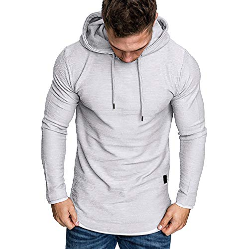 YOcheerful Mens Hoody Hoodies Loose Fit Hoodie Solid Pullover Fall ()