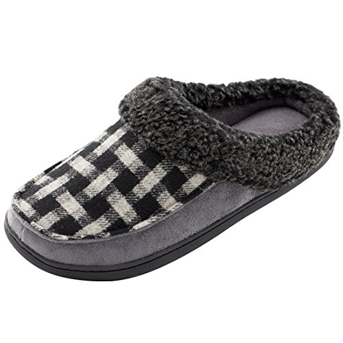 Men's Indoor / Outdoor Plaid Wool Micro Suede Plush Fleece Slip On Memory Foam Clog House Slippers