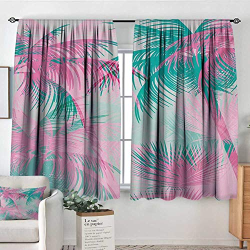 (Mozenou Palm Leaf Waterproof Window Curtain Beach Party Theme Vibrant Composition with Pink and Green Trees Vintage Blackout Draperies for Bedroom 55