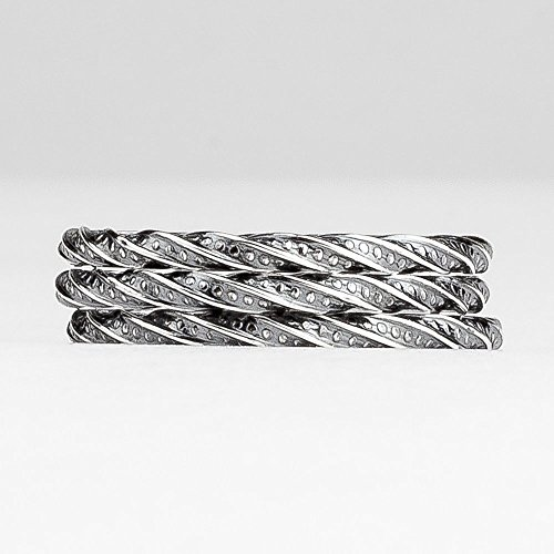 Custom Square Twist Stacking Rings in Oxidized Black
