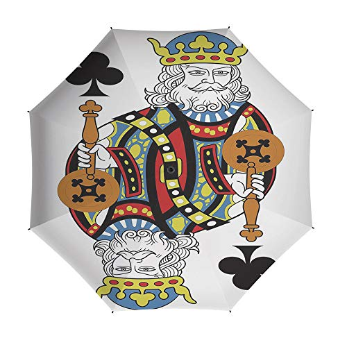 Umbrellas Compact Travel Umbrella Auto Open Close,King,for Women Men Vinyl Anti-UV Lightweight 42 Inch,King of Clubs Playing Gambling Poker Card Game Leisure Theme without Frame Artwork