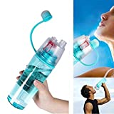 Yaping Plastic Outdoor Sports Spray BPA-Free Water Bottle with Straw For Travel Fitness Hiking Cycling(600ML-Blue)