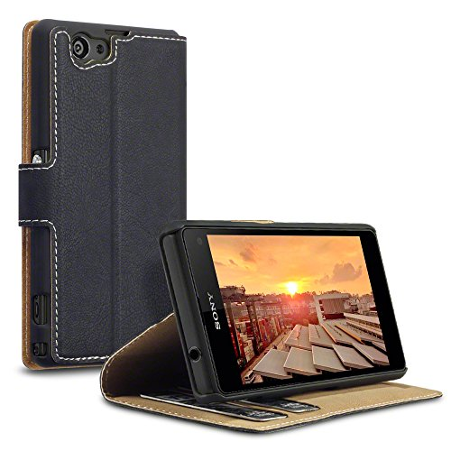 Terrapin Low Profile PU Leather Wallet Case with Viewing Stand & Card Holders for Sony Xperia Z1 Compact (Black)