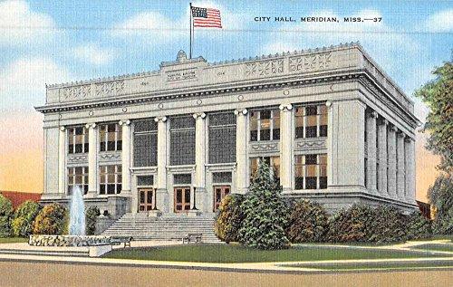 Meridian Mississippi City Hall Street View Antique Postcard K51192 (Meridian City)