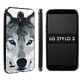 lg 3 bumper - [POPCulture] Gummy Gel For LG Stylo 3 [Black] Total Shock Absorption Bumper Slim-Fit Flexible TPU [Screen Protector]- [Wolf] Print Design