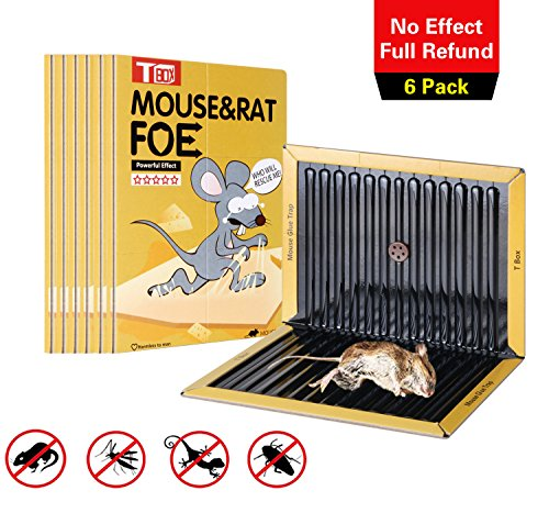 T Box Mouse Glue Traps, Wavy Shape Glue& Black Glue Board,6 Pack Extra Large Sticky Rat Glue Traps, Peanut Butter Scented Glue Traps for Mice, Perfect Use for Indoor and Outdoor. (Large Trap)