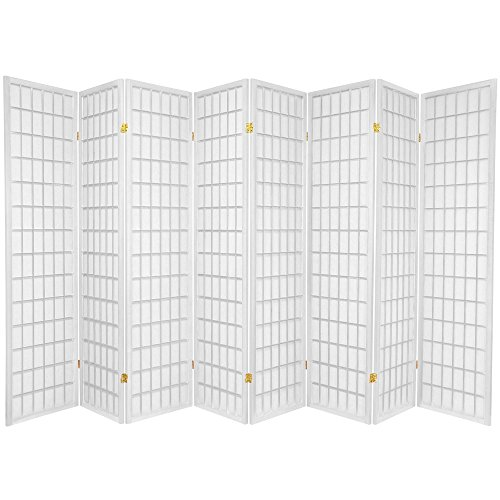Oriental Furniture 6 ft. Tall Window Pane Shoji Screen - White - 8 Panels
