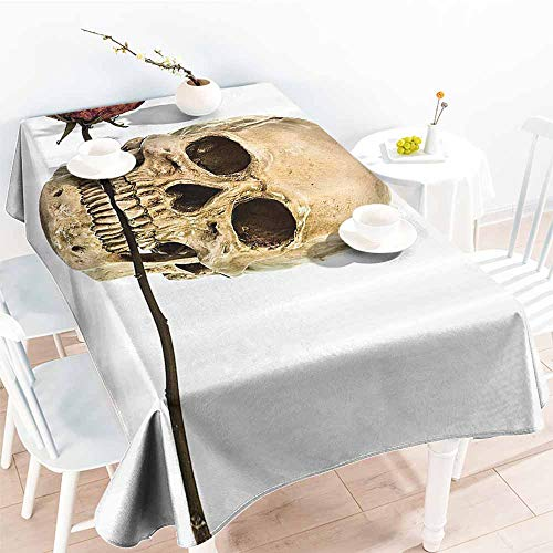 Homrkey Waterproof Tablecloth Gothic Decor Collection Skull with Dry Red Rose in Teeth Anatomy Death Eye Socket Jawbone Halloween Art Ivory White Table Decoration W60 xL84]()