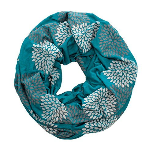 ORIGINAL INFINITY - Hand Printed - Gray Flowers on Turquoise