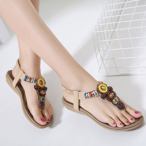 Bohemia Sandalia de Mujer Calzado Zapatos de La Playa De Adorno De Rhinestone T-Correa Sandalias Planas Albaricoque