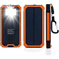 Solar Charger, 15600mAh Solar Power Bank Dual USB External Battery Charger Cell Phone Battery Pack with LED Flashlight for iPhone, iPad, Cell Phone, Tablet (Zenos Orange)