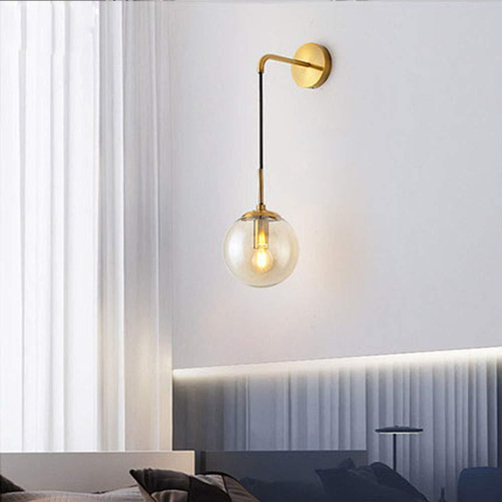 Negro Soporte HJXDtech Industrial Vintage Loft Bar L/ámpara de pared con globo de 20 cm Luz de la l/ámpara de lectura del pasillo del dormitorio Aplique de pared retro de esfera de vidrio /ámbar