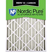 Nordic Pure 16x25x4 (3-5/8 Actual Depth) MERV 13 Plus Carbon AC Furnace Air Filter, Box of 6