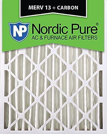 Nordic Pure 16x25x4 (3-5/8 Actual Depth) MERV 13 Plus Carbon AC Furnace Air Filters, Box of 2
