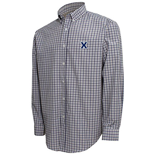 ncaa-xavier-musketeers-mens-3-color-woven-polo-shirt-white-navy-platinum-xx-large