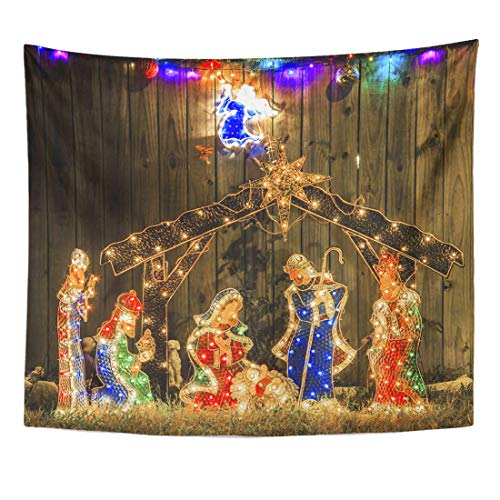 Emvency Tapestry Birth Colorful Angel Christmas Light Nativity Scene White Beautiful Celebration Home Decor Wall Hanging for Living Room Bedroom Dorm 50x60 Inches ()