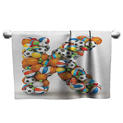 xixiBO Indoor Scarf W39 x L10 Letter K,Alphabet Letter with Gaming Balls of Popular Sports Fun Initial Monogram Design, Multicolor Bath Towel Fashion Wearable