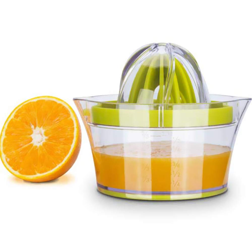 Citrus Juicer with Storage Container, Manual Hand Orange Lemon Squeezer,Anti-Slip Dome Lid Rotation Reamer Lime Juicer Press, 14-Ounce Capacity