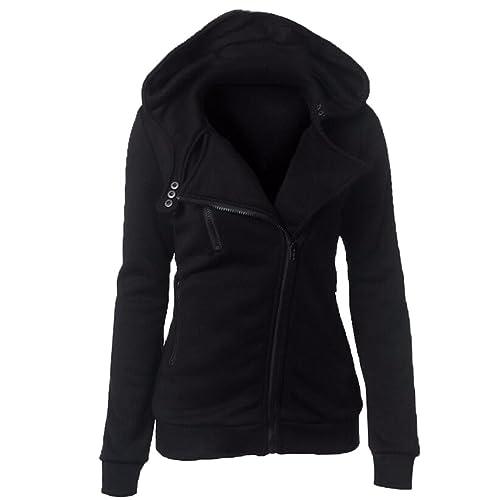 Honghu Mujer Casual Manga Larga Zipper Warm halten Jacket Mantel