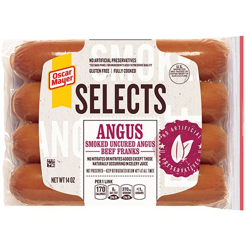 - OSCAR MAYER SELECTS FRANKS HOT DOGS ANGUS BEEF 14 OZ PACK OF 2
