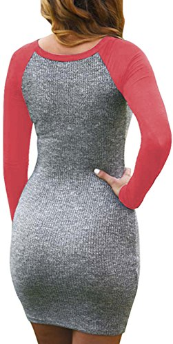 Color Women's Kissky TShirt Dress Multi Sleeve Bodycon Long gfxRSB