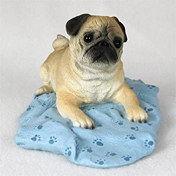 PUG Dog Fawn Lays on Blue Blanket FIGURINE Resin DFL18A