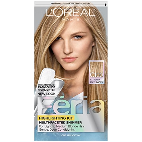 (L'Oréal Paris Feria Multi-Faceted Shimmering Permanent Hair Color, C100 Star Lights Extreme (Highlighting Kit), 1 kit Hair Dye )