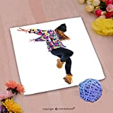 VROSELV Custom Cotton Microfiber Ultra Soft Hand Towel-young woman dancing street dance Custom pattern of household products(14''x14'')