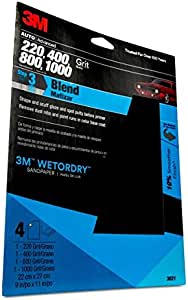 3M Wetordry 9-in x 11-in Sandpaper Sheet with Assorted Grit Sizes, White (03021)