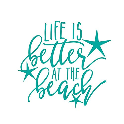 ND021T Life Is Better At The Beach Decal Sticker | 5.5-Inches By 5.1-Inches | Premium Quality Teal Vinyl - Beach Decal Sticker